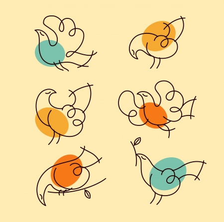 group of pets: Set of ornate birds in retro-style