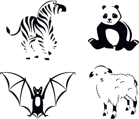 large group of animals: Black and White Animals