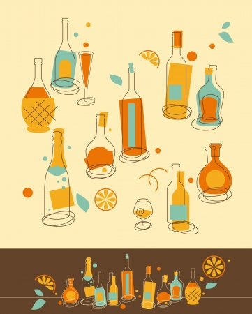 sauvignon: Set of Bottle in Retro-Styled
