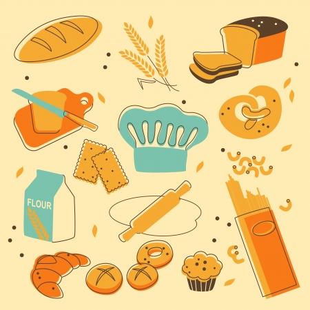 toast bread: Bakery set Illustration