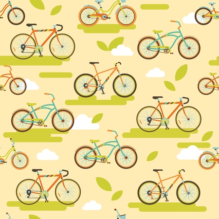 Seamless background of bikes in flat style Vector