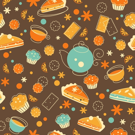 Teatime seamless pattern in doodle retro style