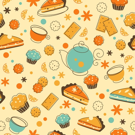teatime: Teatime seamless pattern in doodle retro style