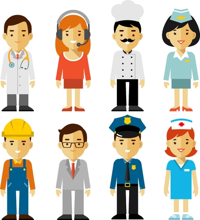 police cartoon: Different people professions characters set