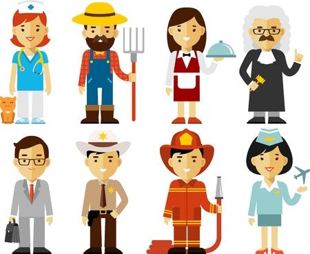 diferentes profesiones: Diferentes personas profesiones personajes establecen Vectores