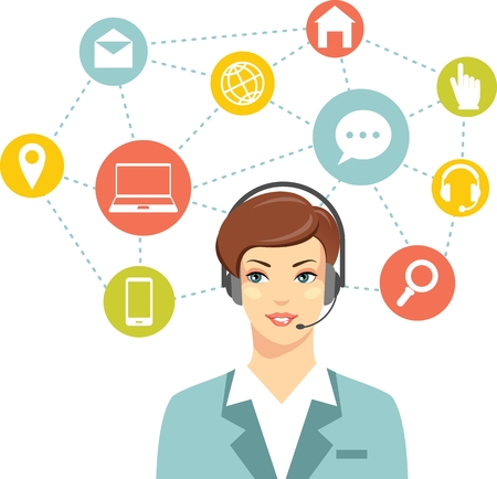support services: Beautiful woman in call center and networking flat icons