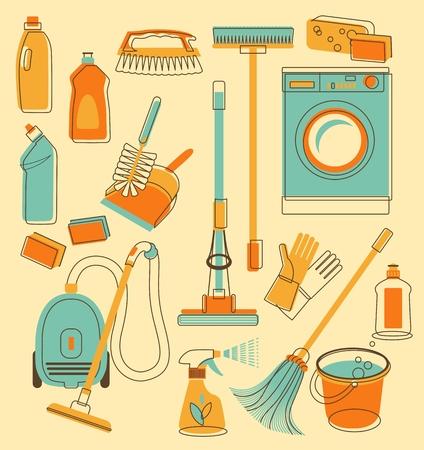 detersivi: Insieme di oggetti di pulizia in stile vintage