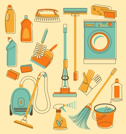 chores: Set of cleaning objects in vintage style Illustration