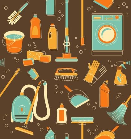 Nahtloses Muster der Reinigungsobjekte im Vintage-Stil