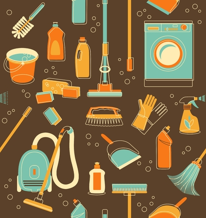Seamless pattern of cleaning objects in vintage style Illustration