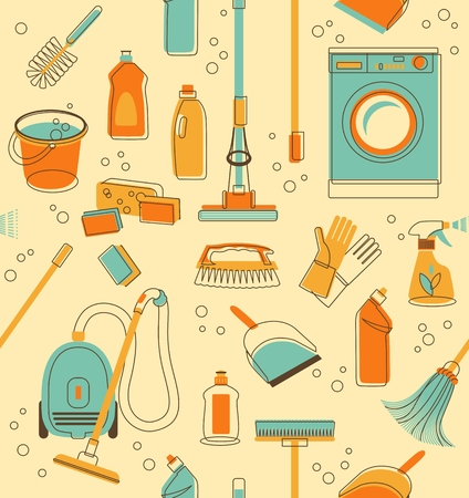 Seamless pattern of cleaning objects in vintage style  イラスト・ベクター素材