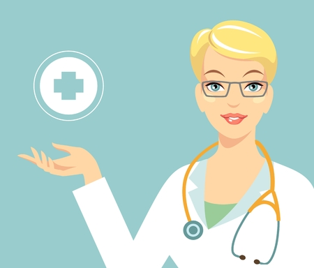 white coat: Friendly smiling woman doctor and cross sign Illustration
