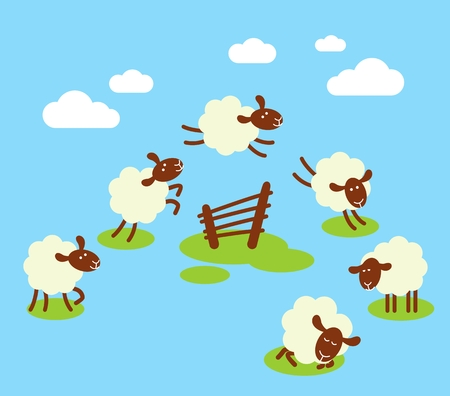 Battling insomnia concept with white sheeps jumping over fence Stok Fotoğraf - 34142663