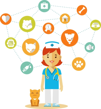 Veterinary concept with doctor, kitten and set of veterinary icons in flat style Vector