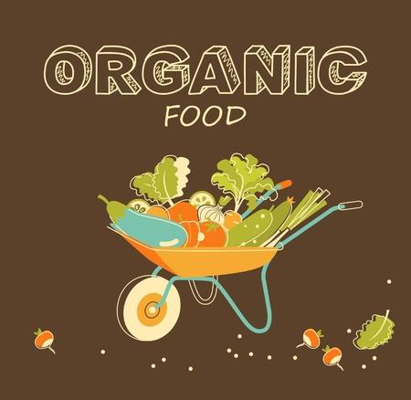 basket icon: Wheelbarrow with organic fresh vegetables