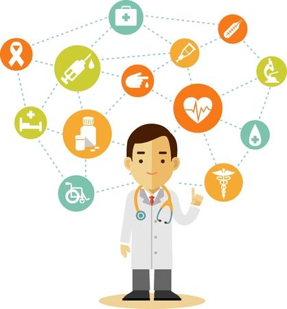 farmacia: Concepto de la medicina en el estilo plano con iconos y m�dico Vectores