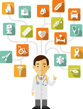 Medicine concept in flat style with icons and doctor