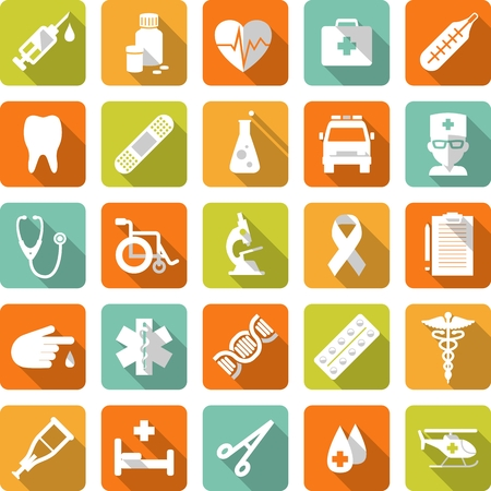 Flat medical icons with long shadows