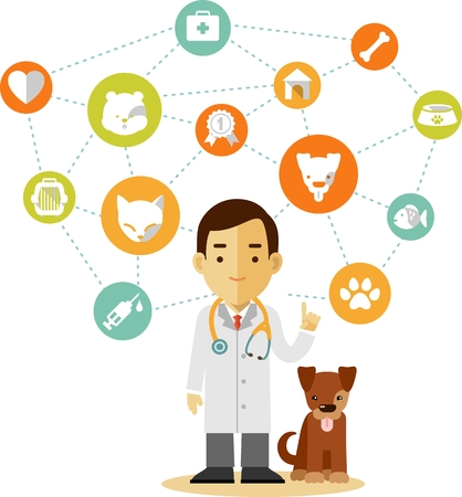 Veterinary concept with doctor, dog and set of veterinary icons in flat style Vector