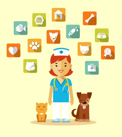 medical doctor: Veterinary concept with doctor, cat, dog and set of veterinary icons in flat style