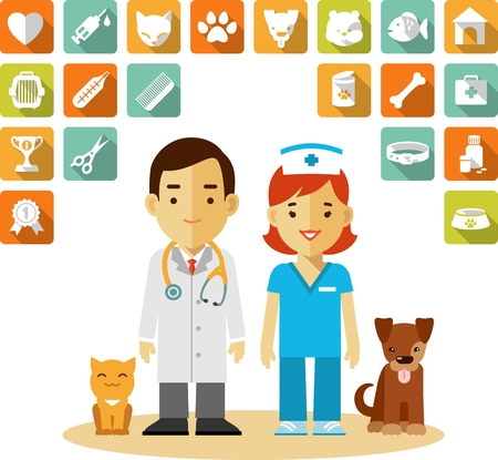 veterinario: Concepto Veterinaria con el médico, enfermera, perro, gato y conjunto de iconos veterinarios en estilo plano