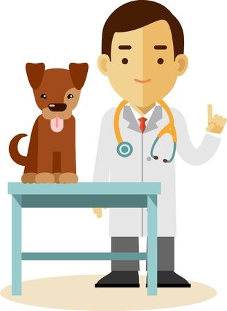 cheerful cartoon: Concepto Veterinaria con el m�dico el examen m�dico de perro