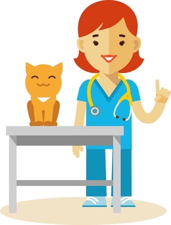 Veterinary concept with doctor medical examination of cat Vector