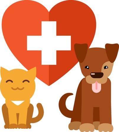 Veterinary symbol - cat and dog on heart background Ilustração