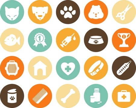 Veterinary round icons in flat style Çizim