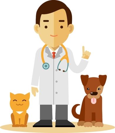 Concepto Veterinaria con el médico, gato y perro en estilo plano