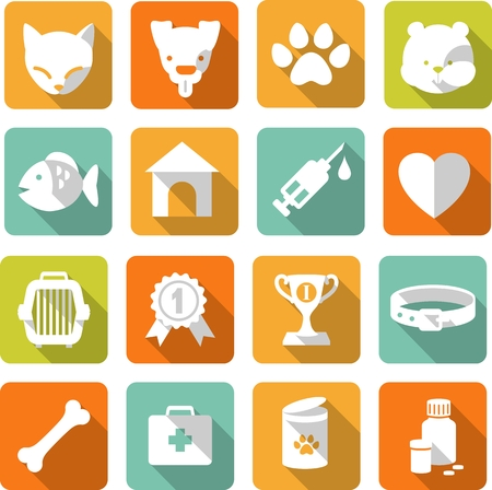 puppy love: Iconos planos veterinarios con largas sombras