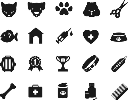 cat grooming: Set of veterinary black flat icons