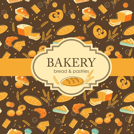 pastry chef: Vintage bakery background with bread and other pastries Illustration