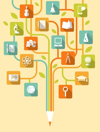 Stylized tree with education icons in flat style  イラスト・ベクター素材