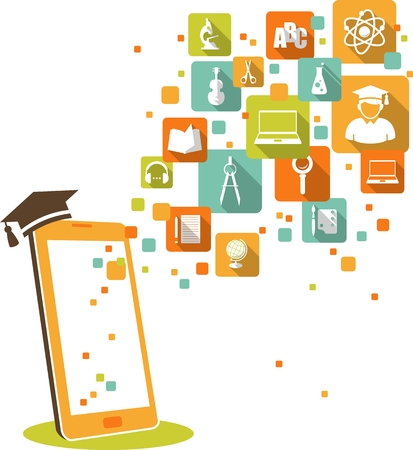 elearning: Online e-learning and science concept with computer and education icons in flat style