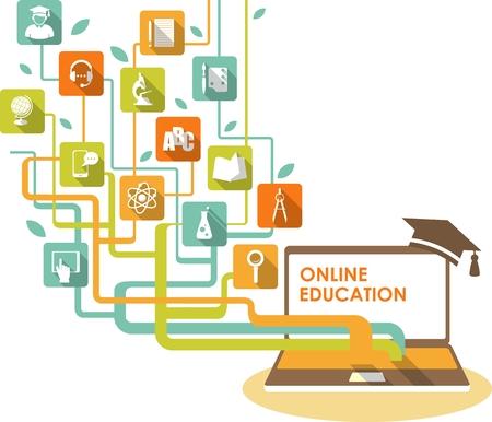 enseñanza: Concepto de e-learning y la ciencia en línea con los iconos de ordenador y educación en estilo plano Vectores