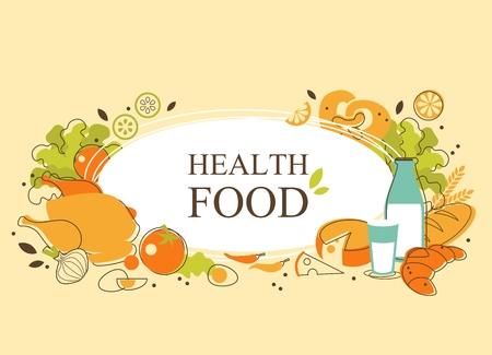 aliments: fond de l'alimentation avec des denr�es alimentaires et espace pour votre texte
