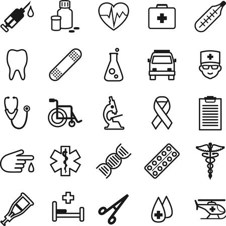 s�mbolo de la medicina: Iconos m�dicos de l�nea delgada plana Vectores