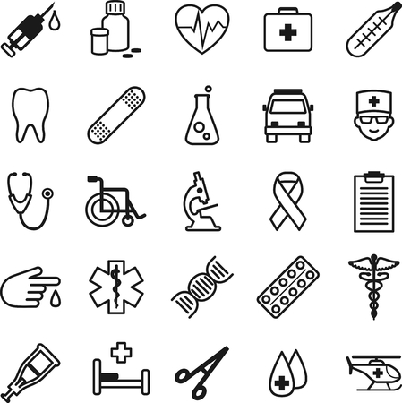 simbolo medicina: Iconos m�dicos de l�nea delgada plana Vectores