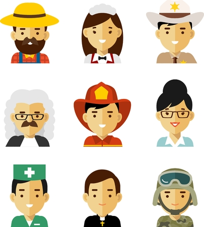 Avatars of different people professions characters