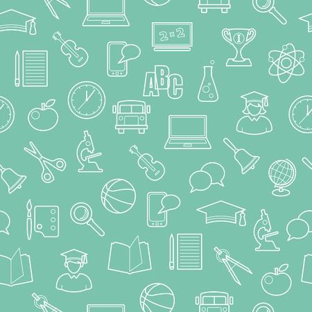 Educación y ciencia sin patrón, con iconos de aprendizaje en el estilo de línea delgada Foto de archivo - 35107668