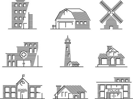 얇은 선 스타일의 부동산 및 정부 건물 아이콘