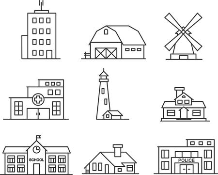 Vastgoed en overheidsgebouwen iconen in dunne lijn stijl