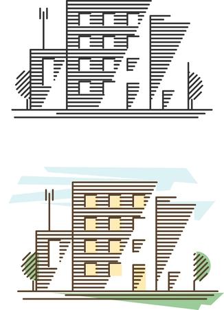 logo batiment: Bâtiments réels immobiliers et du gouvernement icônes de style de ligne mince