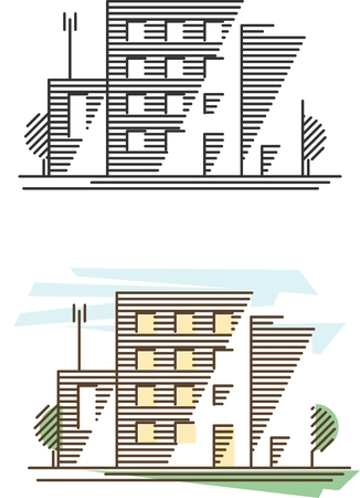 multistory: Real estate and government buildings icons in thin line style