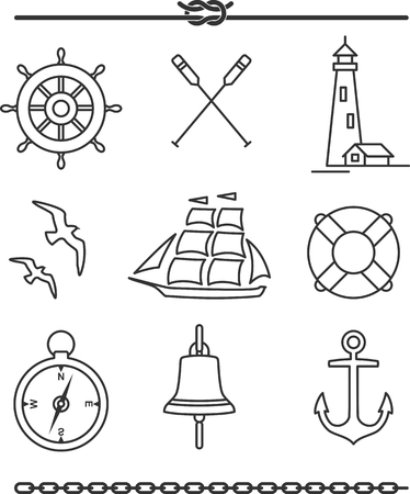 oar: Set of nautical icons and design elements in vintage line style