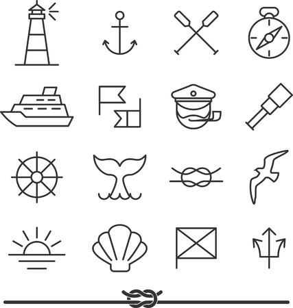 at sea: Set of nautical icons and design elements in vintage line style