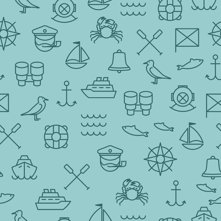 Seamless background with nautical icons and symbols Illustration