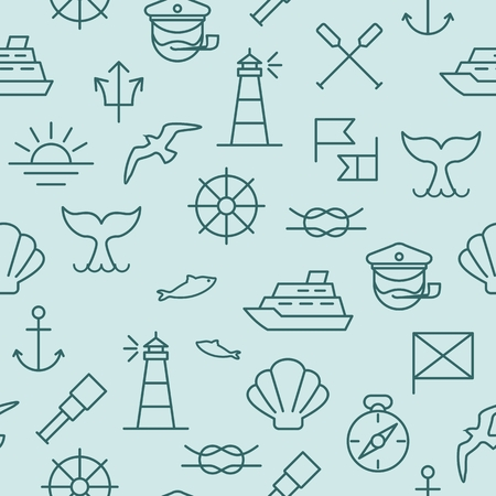 Seamless background with nautical icons and symbols Ilustrace