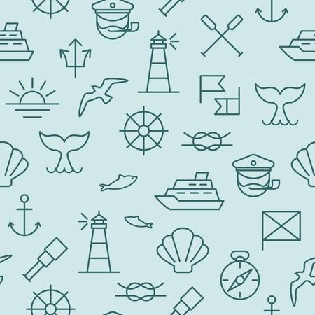 Seamless background with nautical icons and symbols Ilustração